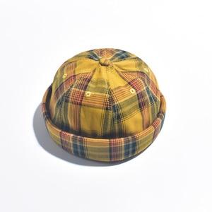 Image 5 - 2019 참신 폴드 skullcap 레트로 선원 모자 남자 여자 따뜻한 압 연된 커 프 스 버킷 무해한 모자 조정 가능한 힙합 스타일 skullcap