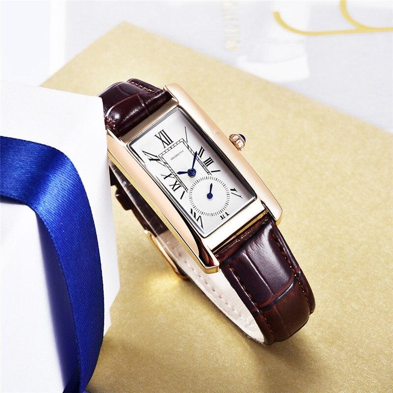 REBIRTH New Quartz Watch Women Leather Bracelet Fashion Wristwatches Ladies Vintage Business Watches Female Clock Montre Femme