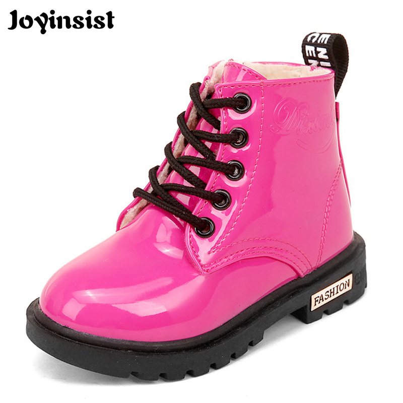 Winter Children Shoes PU Leather Waterproof Martin Boots Kids Snow Boots  Brand Girls Boys Rubber Shoes Fashion Sneakers 2018 New 4aaeecead470