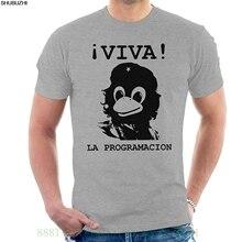 32267a448 Viva a Programação Tux Linux Che Guevara T dos homens Camisa Camisas de  Verão de Manga