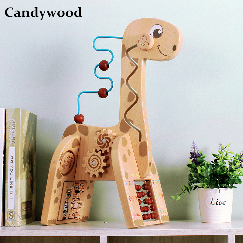 цена Candywood New Wooden animal cute deer Maze Beads Baby Toddler Early Educational Toys Children Kids Math Toys boy girl games
