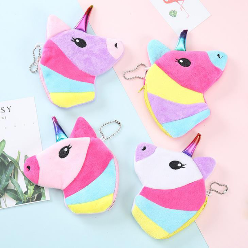 Card Holder & Note Holder Glorious 1 Pcs Novelty Rainbow Unicorn Plush Coin Bags Keyring Mini Wallet Clutch Purse Change Case Zipper Bags Stationery Card Holders