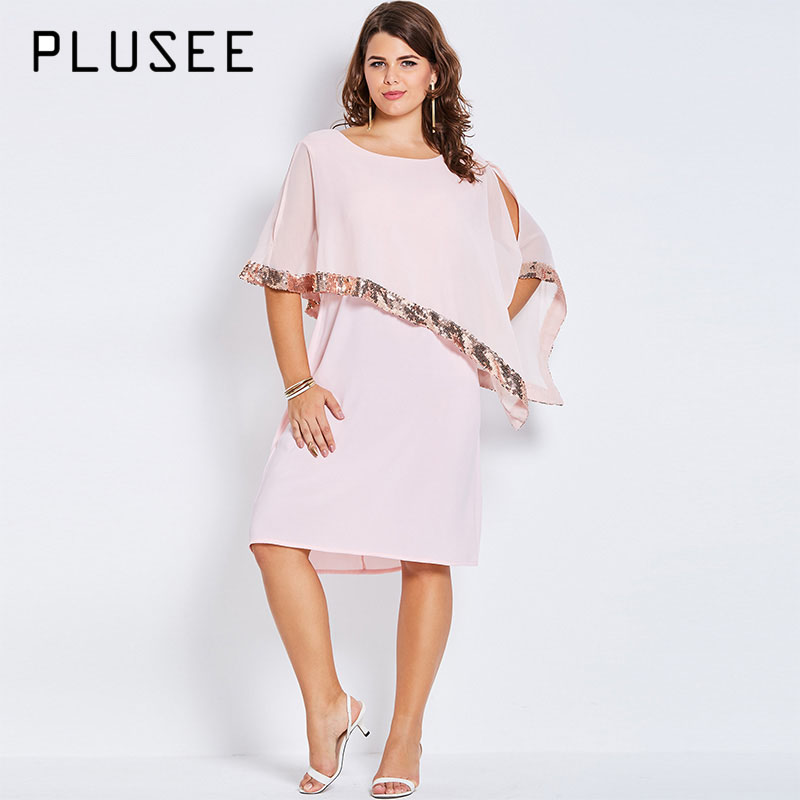 Plusee Women Plus Size 4XL 5XL Summer Pink Dress Half Batwing Sleeve Casual Asymmetric Straight Round