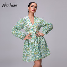 2019 Floral print developed by green pleated Accordion fold design Deep sexy v-neck mini dress Blouson sleeves dresses(China)