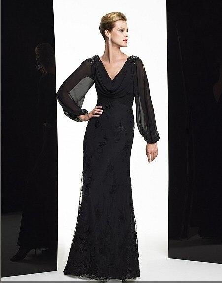 Maxi 2018 New Design Vestidos De Festa Black Lace Long Sleeve Party Evening Elegant Formal Gown Mother Of The Bride Dresses