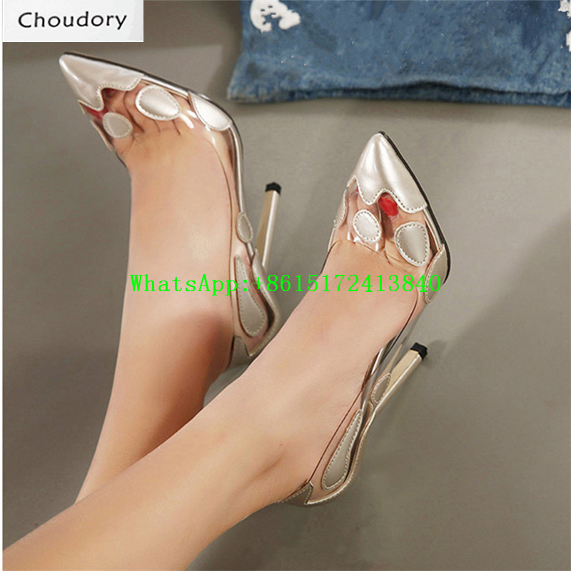 Choudory Transparent Leather Super High Heel Pointed Toe Mary Janes Pumps Thin Heel Sexy Dress Party Fashion Shallow Shoes Woman