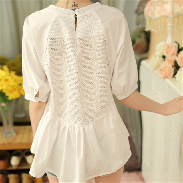 Summer Blouse Women Half Sleeves White Blouse Shirt O-neck Button Raglan Sleeve Hollow Out Casual Lady Tops ruffle blouse Cotton 2