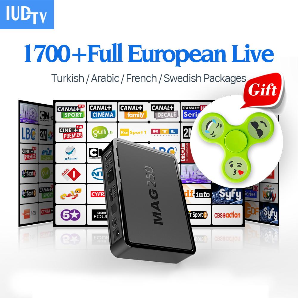 Prix pour Mag 250 Linux TV Set Top Box HD TV Récepteur Avec IUDTV IPTV Chaîne à péage ne Europe Français Arabe Suède Italie ROYAUME-UNI IPTV boîte