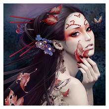 Full Square Diamond Painting Japanese woman 5d Diy Embroidery Sale Mosaic Picture Of Rhinestones Christmas Gifts Z541