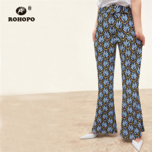 ROHOPO Women Printed Belted Pant Micro Flare Summer Boho Vogue High Waist Flare Trousers Pant Office Ladies Casual Floral Pants retro buttoned high waisted belted flare dress