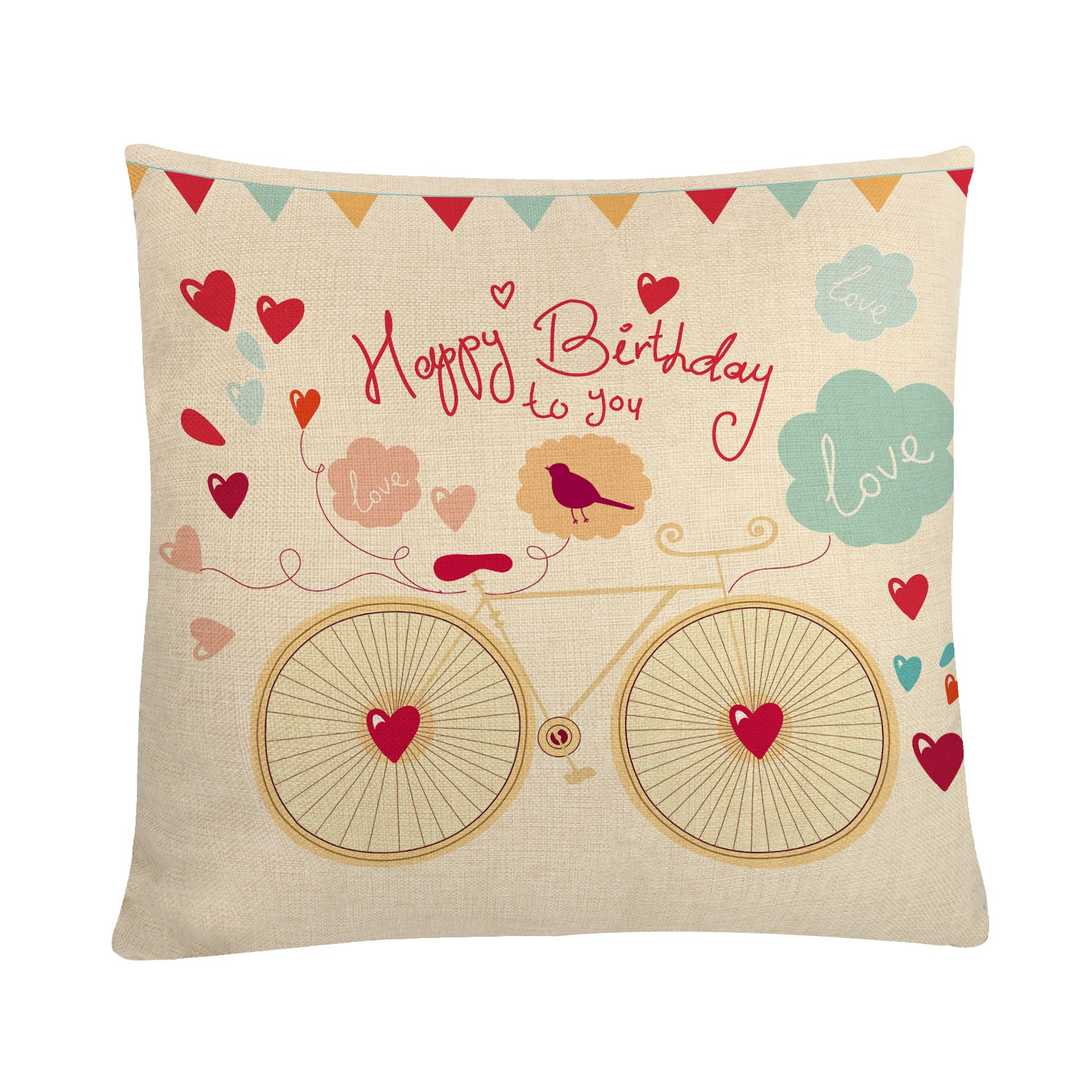 Decorative Cushion Cover 45*45cm Happy Birthday Letters Printed Pillowcase Cotton Linen Throw Pillow For Sofa Chair Decoration