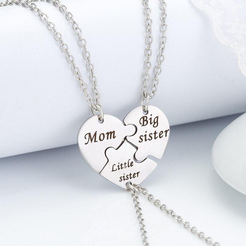 3 шт./компл. ожерелье с подвеской «мама», подвески в виде сердца для матери и дочери, очаровательное металлическое ожерелье, оптовая продажа