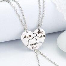3 unids/set madre hija colgante collar mamá gran hermana corazón colgantes encantador plata Metal collar Bijoux venta al por mayor