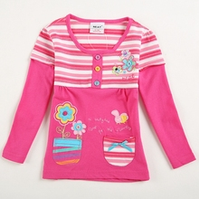 Neat new style comfortable lovely pattern cotton baby girl clothes long sleeve t shirts Children clothing for girls L181