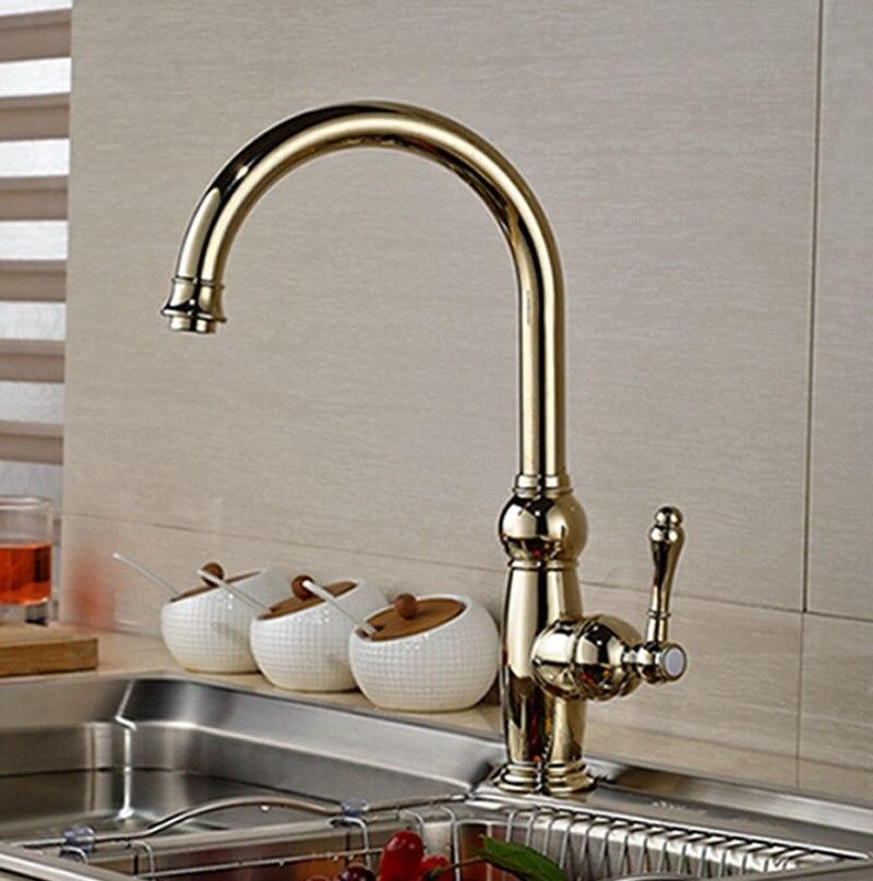 Contemporary Golden Finish Kitchen Faucet Single Handle Hot Cold Faucet Golden Polish