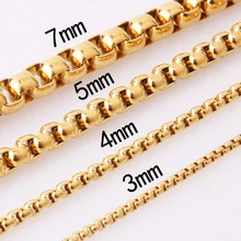 2/3/4/5/7mm 7-40 Handmade Stainless Steel Link Gold Box Chain Mens Womens Fashion Biker Jewelry  Necklace Or Bracelet Xmas Gift