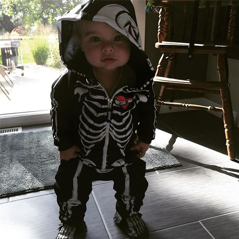 ARLONEET Toddler Infant Baby Boy Hooded Skull Skeleton Romper Jumpsuit Outfits Clothes Feb9/P