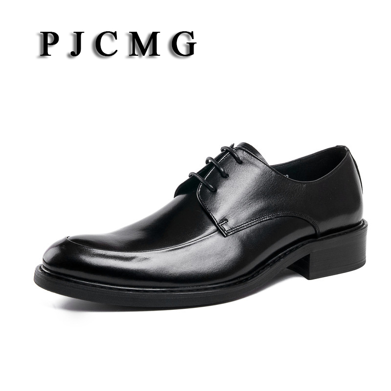 PJCMG High Quality Black/Red Wine Breathable Genuine Leather Lace-Up Pointed Toe For Dress Oxfords Office Wedding Shoes pjcmg fashion high quality wine red black formal oxfords business genuine leather lace up dress breathable mens wedding shoes
