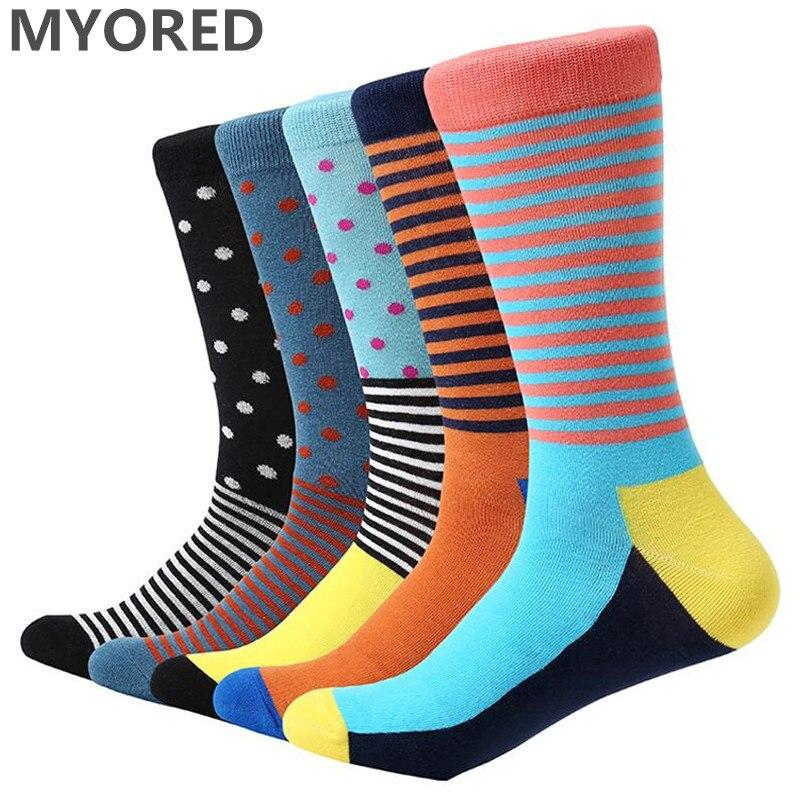 MYORED 5 pair/lot mens socks dot & striped bright color funny socks multi-colored long socks for men business casual dress gift