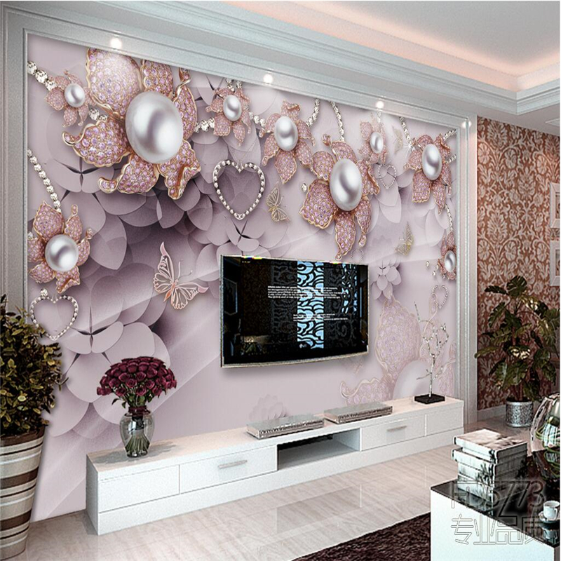 Beibehang Custom Photo Wallpaper 3D Mural Exquisite Luxury Jewelry Flowers Installed TV Backdrop Papel De Parede Wall Paper
