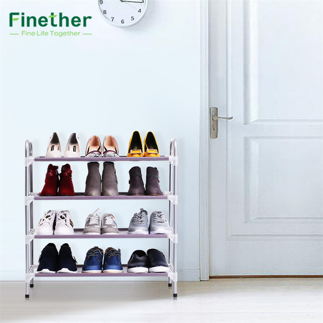 Finether 4 Tier Stackable Adjustable Shoe Rack Shoe Tower Shelving Storage  Organizer Shoes Rack Stand Shelf