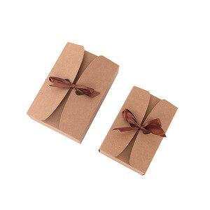 Image 5 - 20 pz/lotto Naturale Kraft Scatola di Carta Regalo Scatola di Imballaggio Nastro Marrone Scatole di Biscotti di Imballaggio per i Dolci Della Caramella Sbuffi Box Presente scatola di cartone