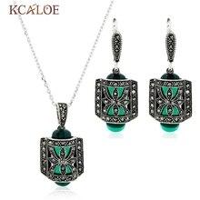 2016 Nuevo Diseño Único de Plata Antiguo Plateado Verde Jade Piedra de Ágata Moda Vintage Carve Conjunto Con Aretes de Perlas Collar