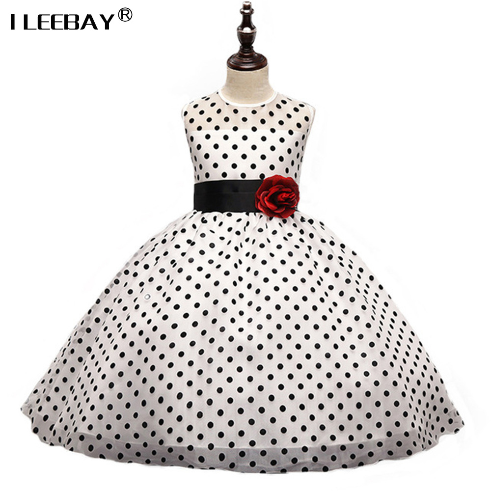 Girls Dress Flower Party Wedding Dress New Children Summer Sleeveless Tulle Tutu Princess Polka Dot Evening Dresses Kids Vestido