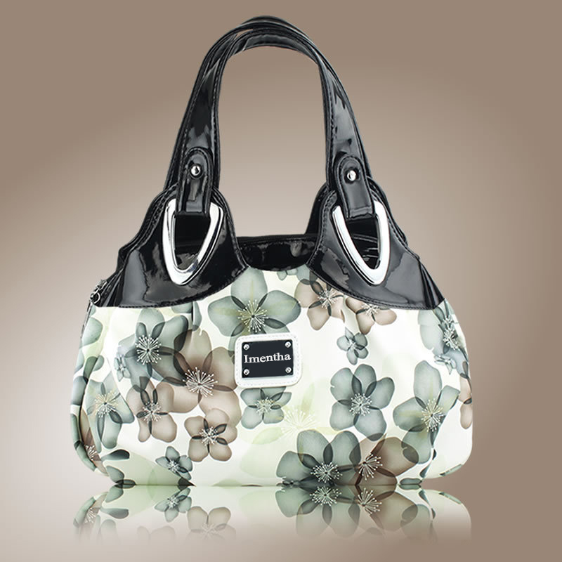 Hot 2017 Top-Handle Bags Flowers fashion foldable tote bags retro vintage women leather handbags tote trendy purses and handbags 5