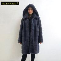 Настоящее Норковое Пальто длинное пальто с капюшоном теплое зимнее пальто