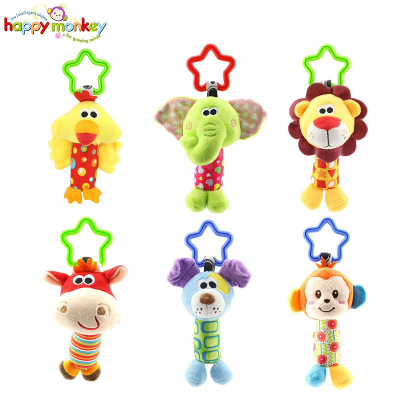 Baby Animal Hand Rattle Puzzle Lathe Hanging Chicken, Deer, Puppy, Monkey, Lion, Elephant Plush Toys
