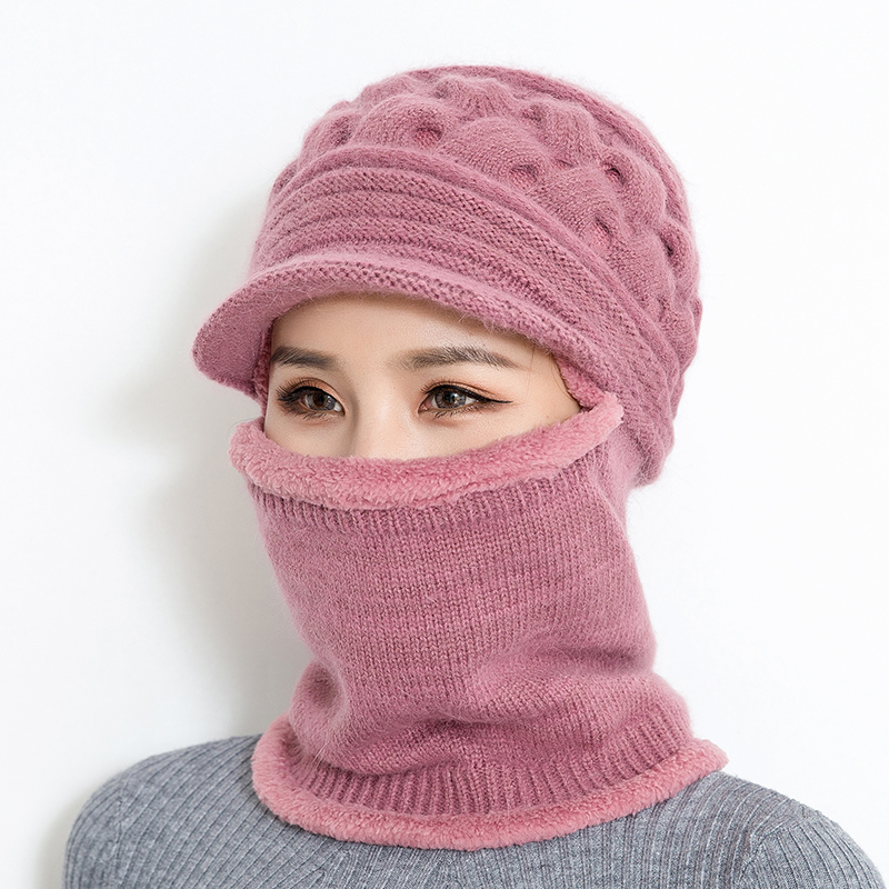 BINGYUANHAOXUAN 2018 New Winter Knitted Hat Women Balaclava Mask Warm Thick Skullies Beanies Female Outdoor Ski Cap