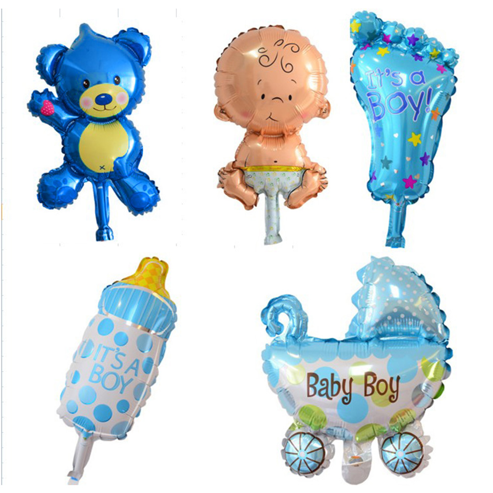 5pcs/set Mini Balloons Baby Shower Party Foil Balloons Baby Boy Girl Cartoon Balloons for Birthday Party Decoration E5M1