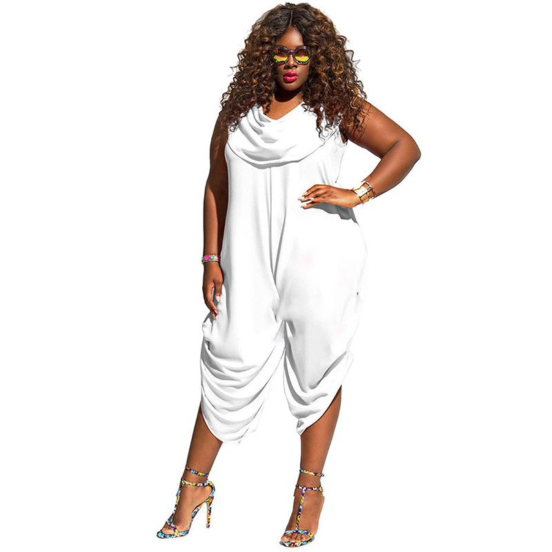 Plus Size 4XL 5XL Loose Jumpsuit Solid Sleeveless Sexy Playsuit Summer Casual Overall Draped Rompers Oversized Plain White Pants
