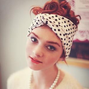Модная женская повязка на голову из молочного шелка с бантиком в горошек и с перекрестным бантом; Эластичная повязка на голову для девушек; ...