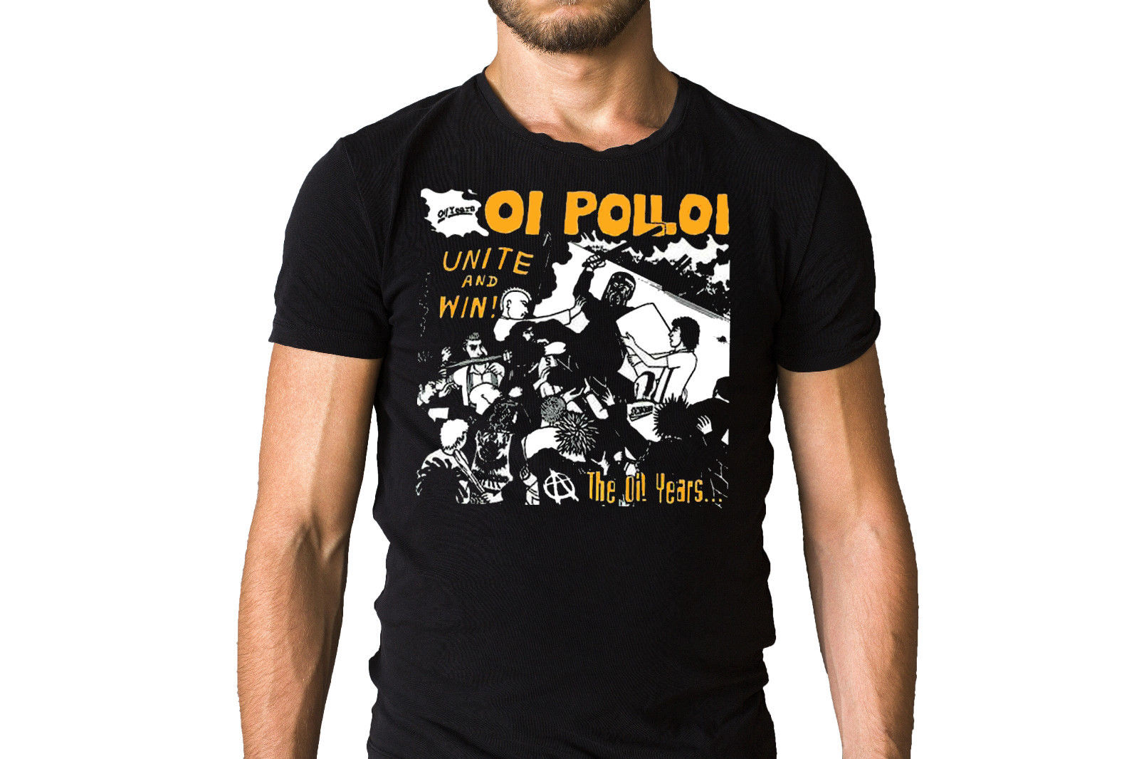 Oi Polloi Unite and Win 1987 Album Cover Inspired Black T-Shirt Print T Shirt Mens Short Sleeve Hot Top Tee Normal