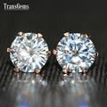 TransGems 2 TCW Carat Lab Grown Moissanite Diamond Stud Earrings Solid Rose Gold Push Back for Women Wedding Birthday Gift