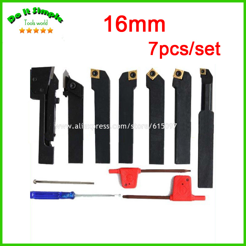 7pcs/set 16mm Hard Alloy Blade with Coating Turning Tool, CNC Lathe Tool Kits Cutter , Durable Cutting Tools 5pcs set 14mm indexable hard alloy turning tool lathe tool kits cutter durable cutting tools with wooden case