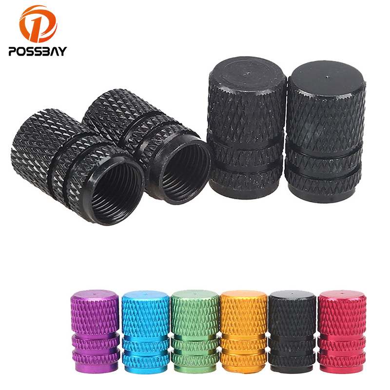 POSSBAY 4x Universal Aluminum Alloy Wheel Tyre Tire Valve Stem Cap Styling For Bike Motorcycles Auto Car Tire Truck Accessories