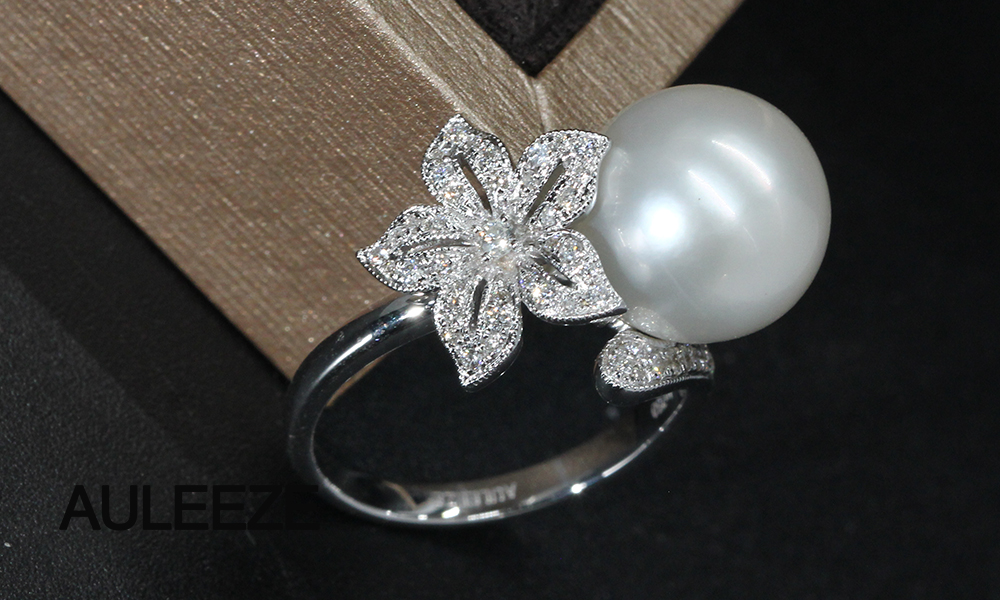 Floral Design Real Diamond Ring 11mm Natural Seawater Pearl Ring 18K White Gold Engagement Wedding Rings For Women Fine Jewelry 7