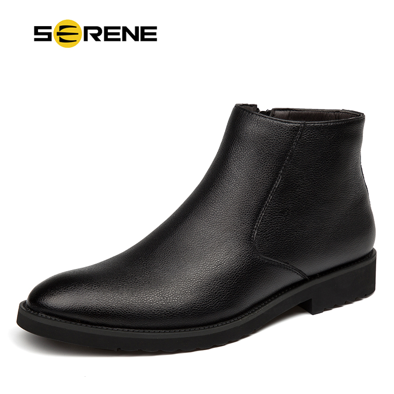 цена на SERENE Brand Men High Quality Cow Split Leather Ankle Boots Size 38~44 Male Winter Leisure Fashion Party Retro Motorcycle Shoes