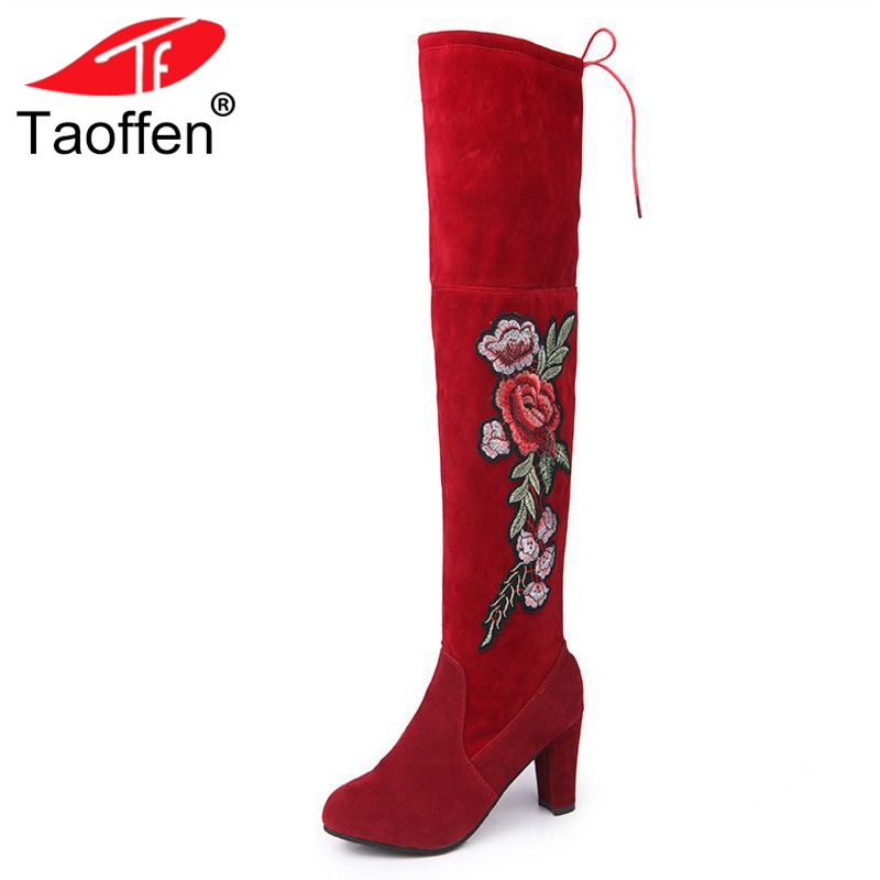 TAOFFEN Women Over Knee Boots Lace Up Embroidery Women'S Shoes Round Toe Thick High Heel Female Concise Footwear Size 34-47 rizabina concise women sneakers lady white shoes female butterfly cross strap flats shoes embroidery women footwear size 36 40