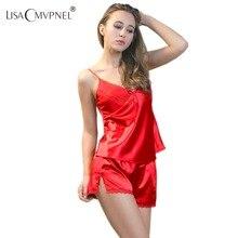 Lisacmvpnel район спагетти pijama шелковые v-образным вырезом sexy ремень пижамы женские