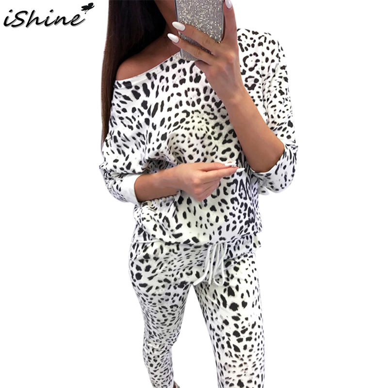 iSHINE Fashion Women Tracksuit Autumn Camouflage Leopard Lady Long Sleeve Off Shoulder Sweatshirts Leggings Pants Casual Suit