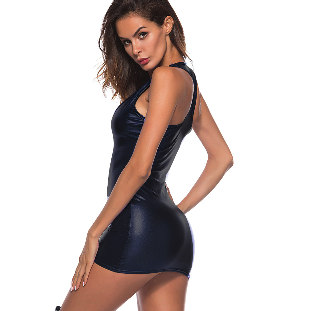 Women Dress Womens Clothing Artificial Leather Bodysuit Zipper Mini Dress Ladies Tank V Neck Club WeaBodycon Midi Dresses #YL