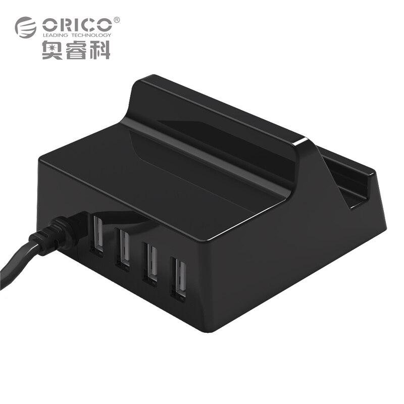 Holder cargador orico 4 puertos usb cargador inteligente con el teléfono de escr