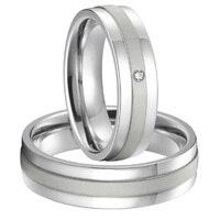 High end Пользовательские Свадебная пара Серебристый Белый цвет золотистый pure titanium стали пары обручальные кольца, наборы альянсов Анель 2015