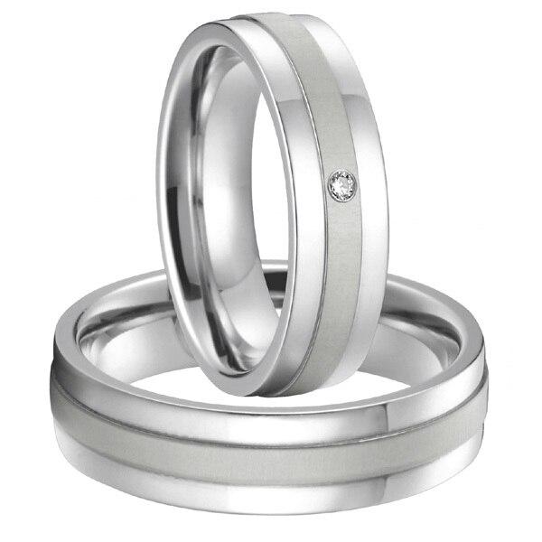 High end Custom Bridal Paar zilver wit goud kleur pure titanium staal koppels trouwringen sets allianties anel 2015