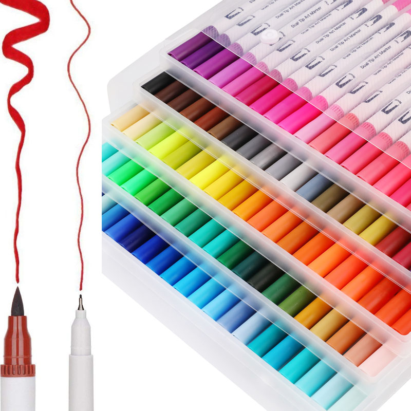 12/48/72/100PCS Colors FineLiner Art Marker Pens Dual Tip Drawing Painting Watercolor Brush Pen School Supplies Markers 04350