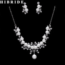 HIBRIDE New Design Long Chain CZ And Pearl Pendant Necklace Earring Set Bridal Jewelry Sets Dress Accessories N-265(China)
